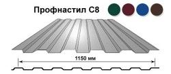 Профилированный лист С-8х1150 ПЭ Стандарт RAL 6005   0,45мм, длина листа 1,2 м, РБ